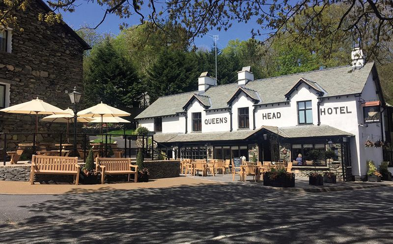 Outside the award-winning Queens Head, Troutbeck, close to Windermere and Lake District attractions